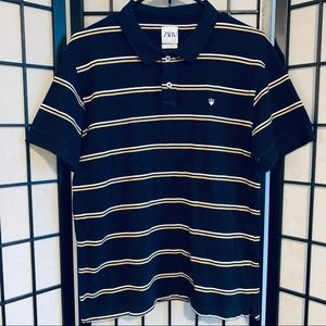 Zara man polo shirt striped sz L